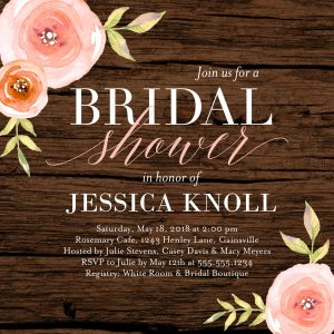 A Woodgrain Bridal Shower Invitation