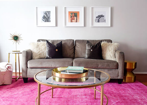 living room decorating ideas picture frames modern leather chairs for 100 decoration photo gallery shutterfly pair neutral furniture with a vibrant hot pink rug that isn t short on personality