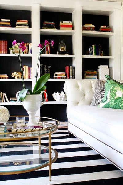 modern interior design living room black and white theme 75 delightful photos shutterfly this is full of lovely elements including a striped carpet glass coffee table with gold sides