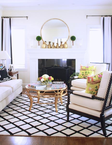 black and white living rooms set room 75 delightful photos shutterfly check out the quirky gold pineapples on this s mantel yellow throw pillows also add a nice colorful touch