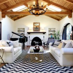 Black And White Living Rooms Art Decor For Room 75 Delightful Photos Shutterfly This Expertly Mixes Together Chic Pieces Like A Chevron Rug Piano With Rustic Wooden Slat Ceiling