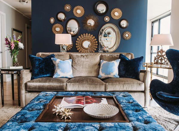 blue walls living room space saving furniture 75 inspiring photos shutterfly this wall is well dressed in gold and mirrored accents