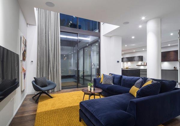 blue modern living room decor ideas with brown sofas 75 inspiring photos shutterfly
