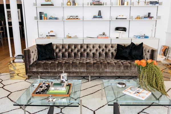 2 sofa living room ideas pictures of gray walls 75 enchanting brown rooms shutterfly this classic velvet couch works wonderfully with the more modern white bookshelves and glass coffee table