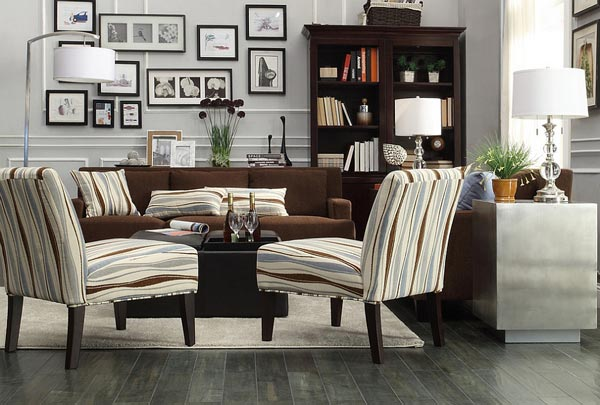living room ideas with brown couch tiles in wall 75 enchanting rooms shutterfly we love how the striped decorative pillows on this s perfectly match blue and armchairs
