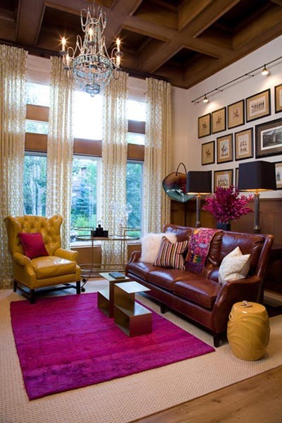 color ideas living room brown carpet built in wall cabinets 75 enchanting rooms shutterfly a bright pink rug is the perfect way to add with scheme