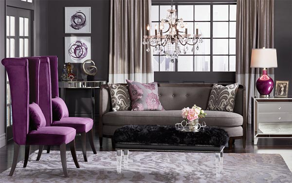 Design Ideas Fascinating Purple Grey Living Room Design 36 Wtsenates