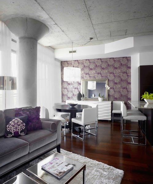 white and grey living room armless chair slipcovers 75 lively purple photos 2019 shutterfly chrysanthemum wallpaper is a idea that adds an abstract beauty to space otherwise adorned with silver