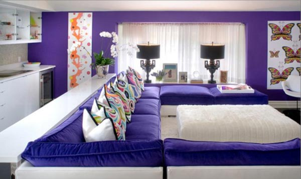 purple color for living room decor ideas apartment 75 lively photos 2019 shutterfly this modern isn t afraid to let the true vibrancy of one solid take over and rule space
