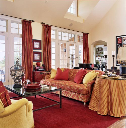 red and grey living room curtains tv unit design for india 75 exciting photos shutterfly when starting with a carpet other decor ideas like throw pillows bring lively feeling to your
