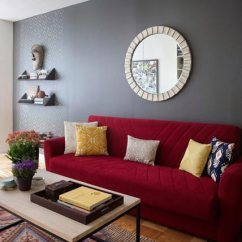 Red Couch Living Room Photos Beige And Gold 75 Exciting Shutterfly A Gives This Gray Wall Lift Makes Statement In Any Modern