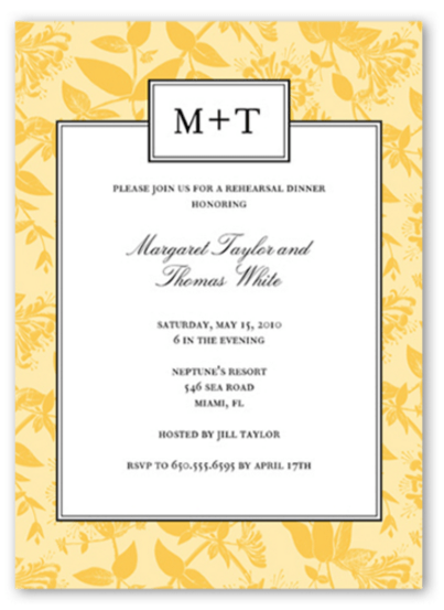 Contemporary Fl Wedding Rehearsal Dinner Invitation