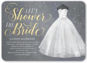 Vine Bridal Shower Invitation With A Wedding Dress