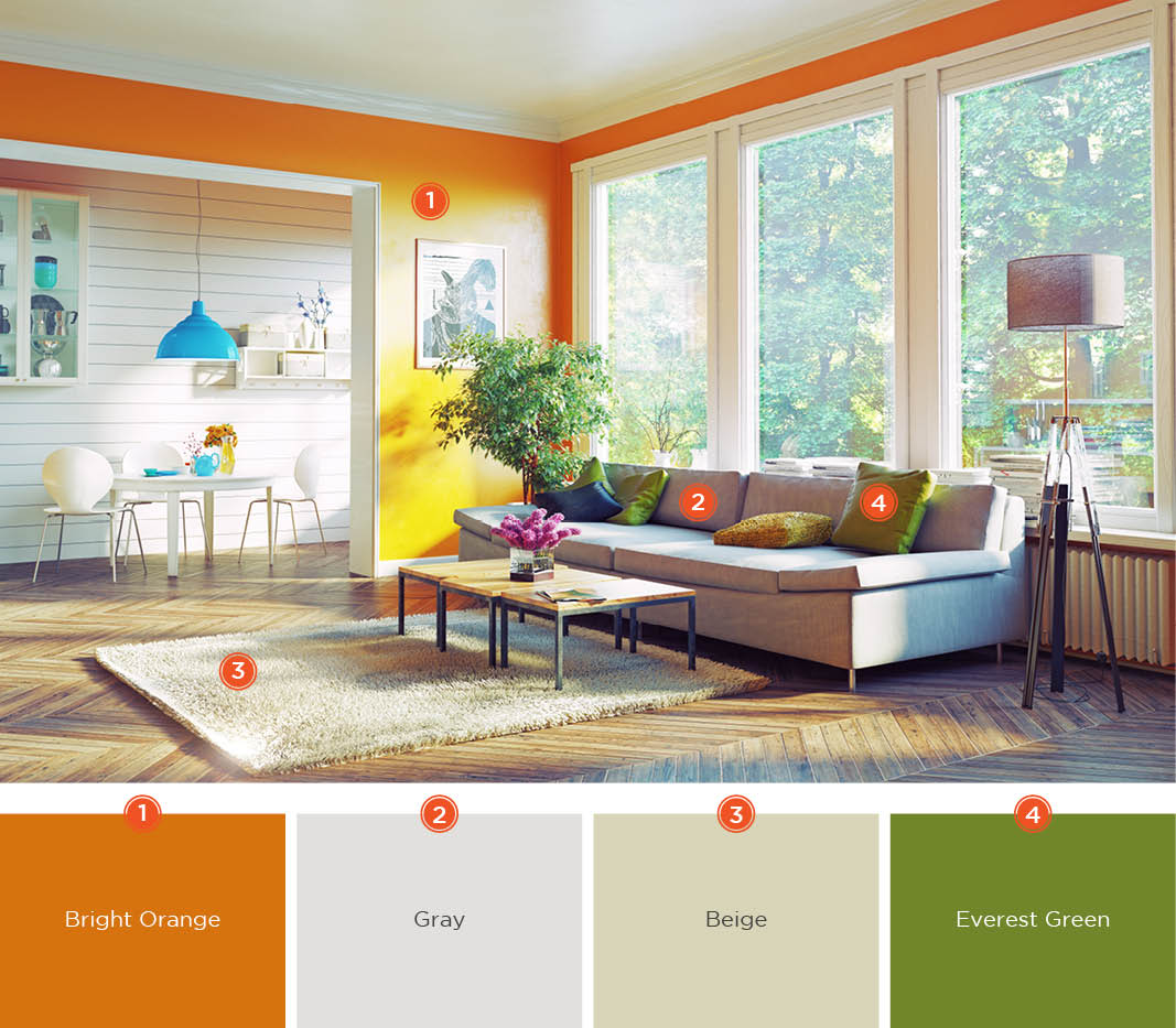 orange living room designs how to arrange a with tv 20 inviting color schemes ideas and inspiration for create seamless transition from the kitchen harmonize tones of colors although both rooms have different