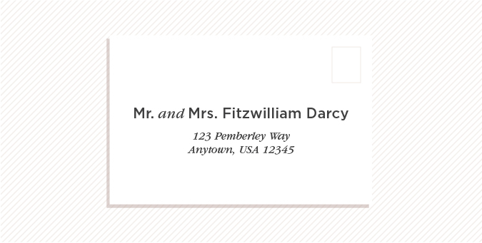 Should You Choose To Include Both Persons Names The Outer Envelope Can Be Addressed As Mr And Mrs His Firstname Lastname An Alternate Version Includes