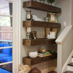 Living Rooms For Small Spaces Room Wallpaper Designs India 50 Rustic Ideas 2019 Shutterfly Floating Shelves Are A Great Choice Space In Your Like The Corner Next To Stairs