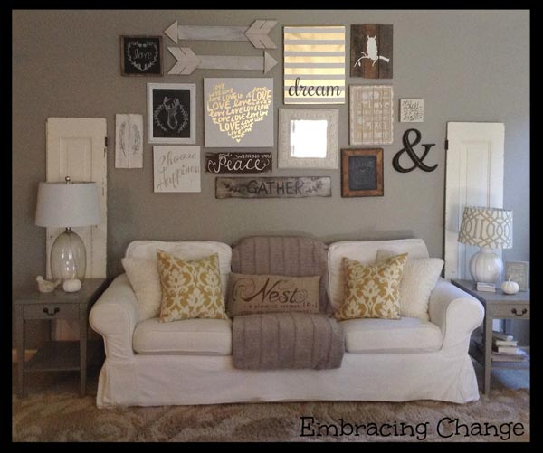 living room picture wall coffee table placement 50 rustic ideas for 2019 shutterfly the space above your couch is perfect place a gallery featuring wooden decor inspirational sayings and family photos