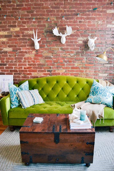 fun living room ideas decorating for long rooms 50 simple 2019 shutterfly don t be afraid to go a bold colored couch like this lime green you can also add decorative pillows in complementary colors