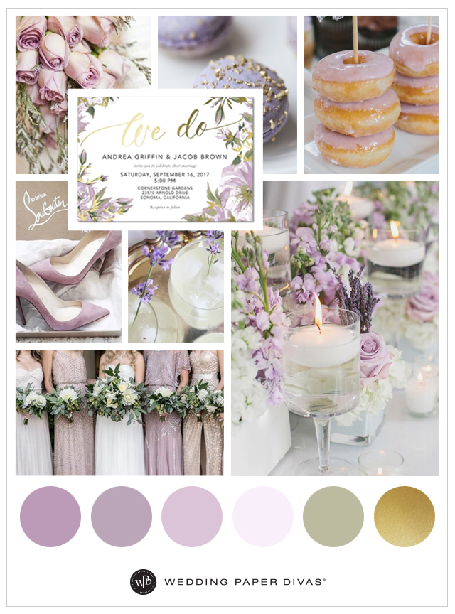 Lilac and Gold Wedding Color Palette  Shutterfly