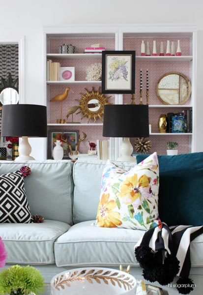 living room built in decorating ideas colours with brown sofa 50 family photos and inspiration for are you looking a idea to bring some color your neutral walls bright wallpaper will make the perfect backdrop