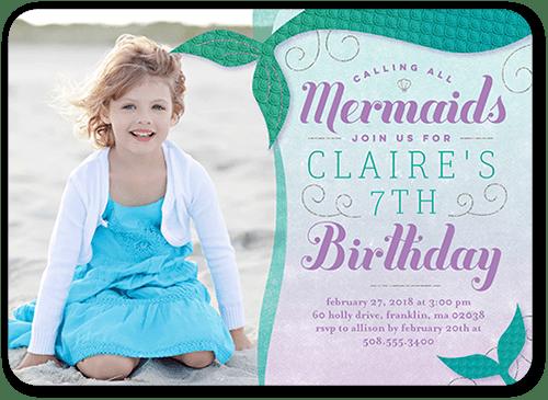 Invitación de fiesta de cumpleaños de sirena 1