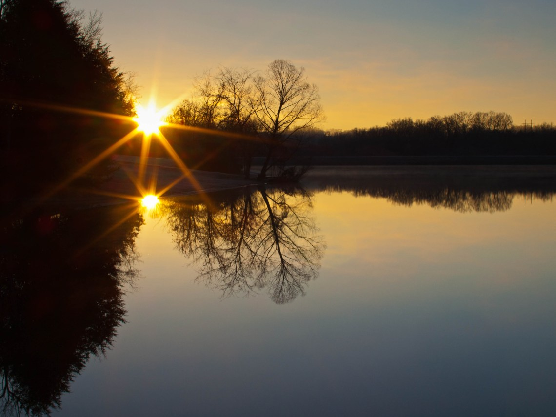 Sun Rise at Williamsport Lakes in Maury County, Tennessee