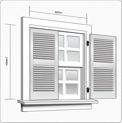 How to measure windows for exterior shutters with width and height.