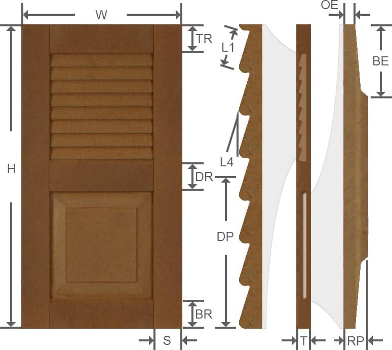 Louvered composite exterior shutters specifications.