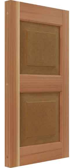 California Redwood solid raised panel outdoor wood shutter.