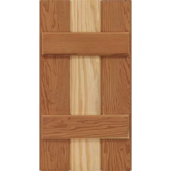 Cedar board and batten exterior shutter.