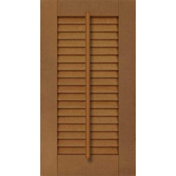 Exterior composite louvered shutter with faux tilt bar.