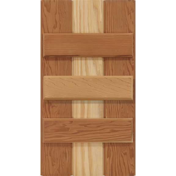 Board and batten exterior shutter with 3 battens.