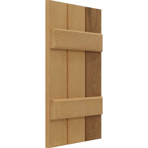 Wooden board & batten functional shutter.
