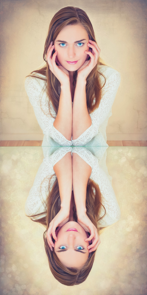 zelfportret spiegel effect photoshop bokeh
