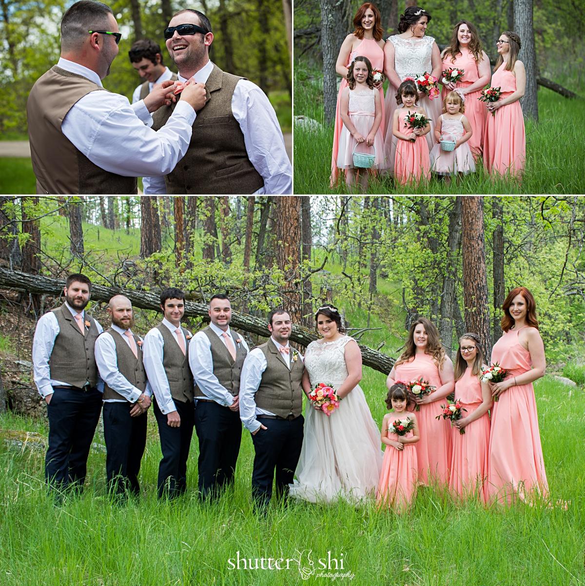 Clint-Tamra-Custer State Park Destination Wedding Spring Blush Pink Dresses Bridal Party South Dakota