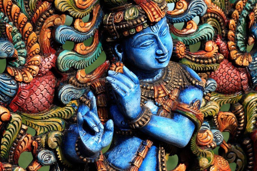 Wooden Statue of Krishna