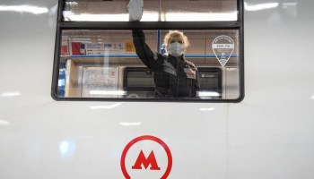 Subway Worker Cleaning Train (Moscow)