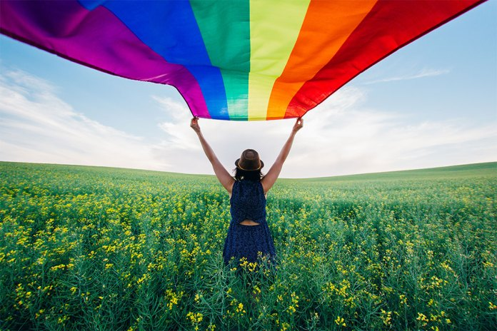 Flying a Rainbow Flag in a Spacious Field