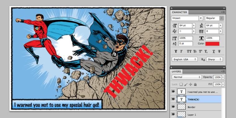 Photoshop圖片設計訣竅-快速編輯出漫畫風格的文字圖片