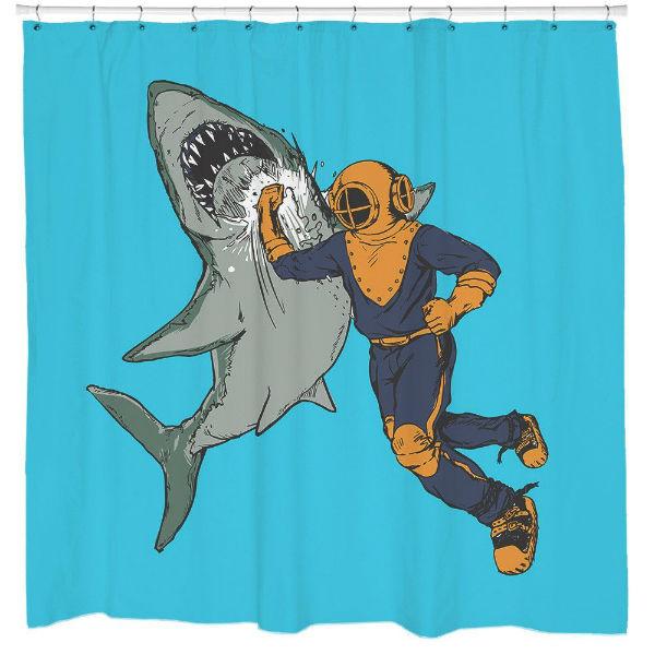 Shark Punch Shower Curtain  Shut Up And Take My Money