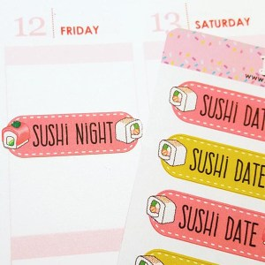 Sushi Date Night Planner Stickers