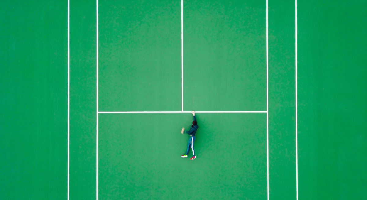 photo of tennis court shot from above