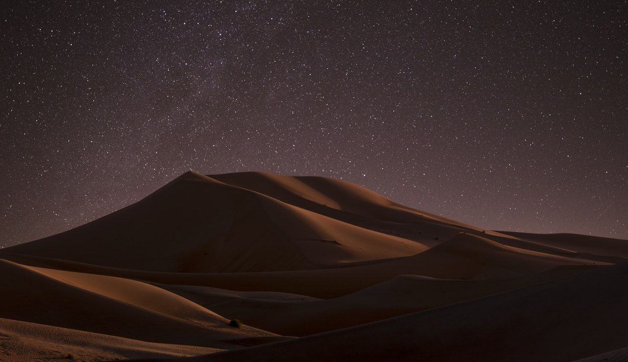Sand dunes in the night