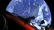 Red Tesla in space