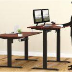 Shw 55 Inch Large Electric Height Adjustable Computer Desk Shw Desks Shw Standing Desk Shw Electric Height Adjustable Computer Desk 55 Inch Large Shw L Shaped Desk Home Office Corner Desk Wood