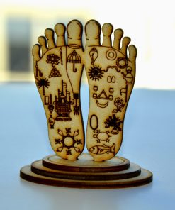 Lord Chaitanya lotus feet statue engraved symbols