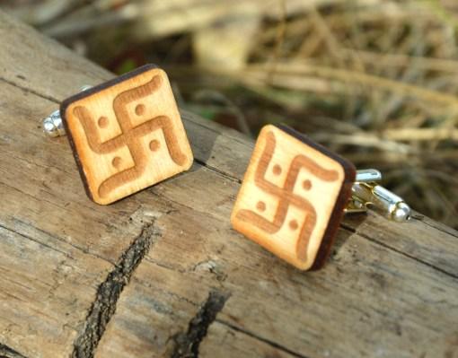 vedic swastica cufflinks