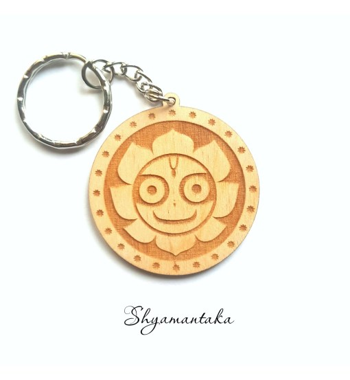 Shyamantaka wooden keychain with Jaganatha smiling
