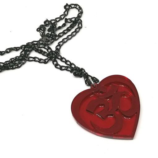 OM Necklace transparent red- AUM Pendant with black chain 60cm