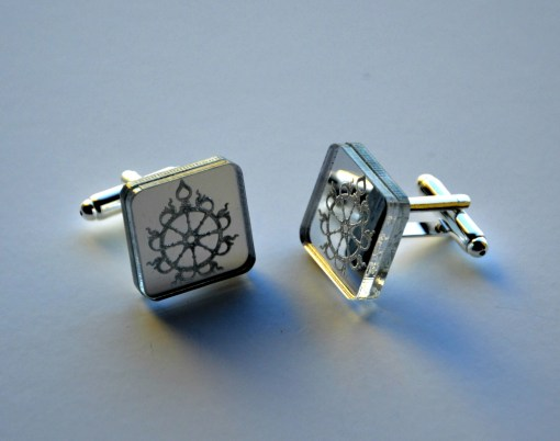 Sudarshana Chakra Cuff links laser cut mirror acrylic